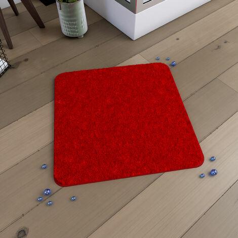 Tapis de bain 60x60cm Antidérapant et en Microfibre - SUBTIL ROUGE - Rouge
