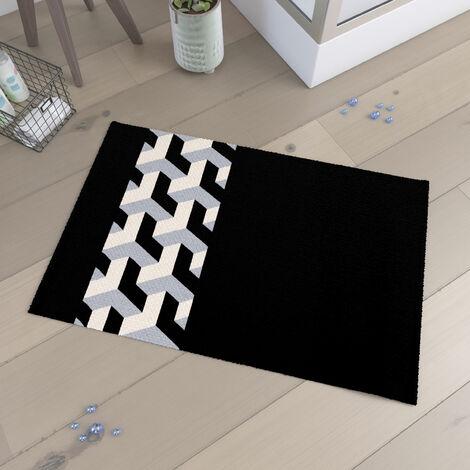 Tapis de bain 90x60cm et 100% Coton - PYRAMIDE NOIR - Noir