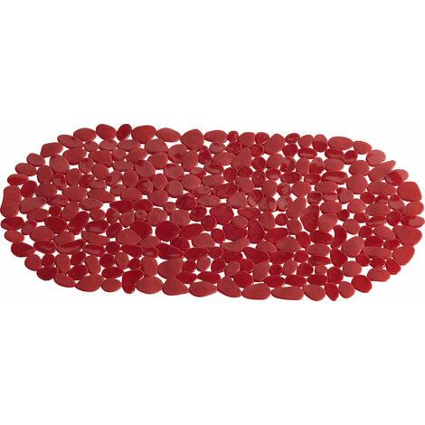Tapis de bain anti-dérapant 70x35cm Rouge Galet - Rouge