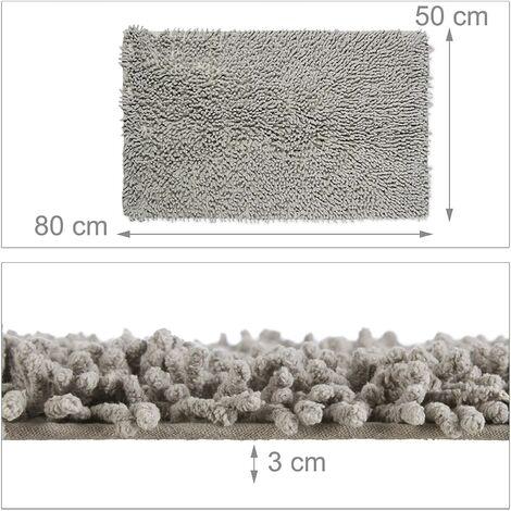 Tapis de bain antidérapant 100% coton fait main douche baignoire 50 x 80 cm - Noir