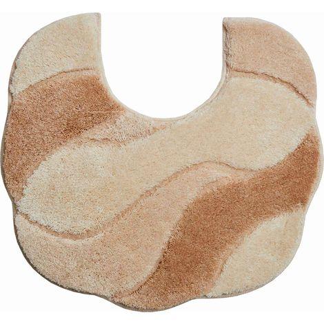 Tapis de bain CARMEN beige contour wc 55 x 50 cm / Couleur: Beige / Référence: b2048-044120