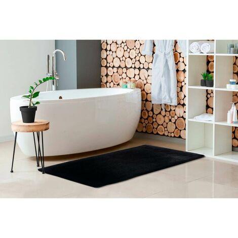 Tapis de bain doux shaggy antidérapant Heaven Noir 50x90 - Noir