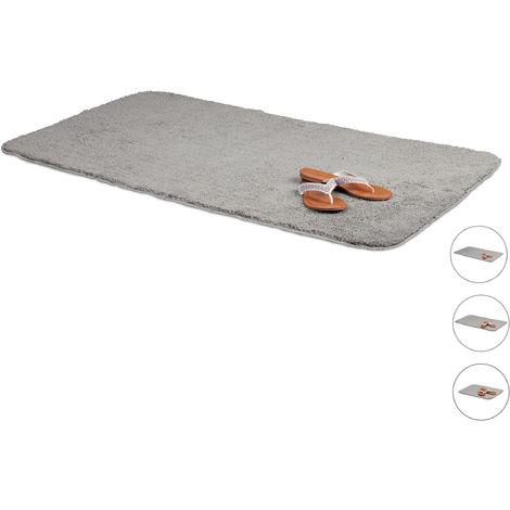 Tapis de bain gris salle de bain tapis 70x120 cm antidérapant tapis de bain gris anthracite lavable, gris