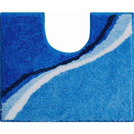 Tapis de bain LUCA bleu contour wc 50 x 60 cm / Couleur: Bleu / Référence: b3742-006001247
