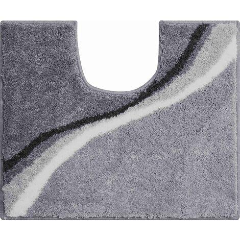 Tapis de bain LUCA gris contour wc 50 x 60 cm / Couleur: Gris / Référence: b3742-006001096