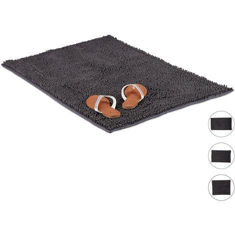 Tapis de bain microfibre Shaggy 60x100 cm sortie douche tapis de douche antidérapant moelleux absorbant, gris