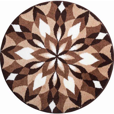 Tapis de bain WINGS OF JOY marron rond 60 cm / Couleur: Marron / Référence: m2672-042001136