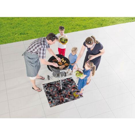 Tapis de barbecue en caoutchouc moderne Soho Noir 80x95