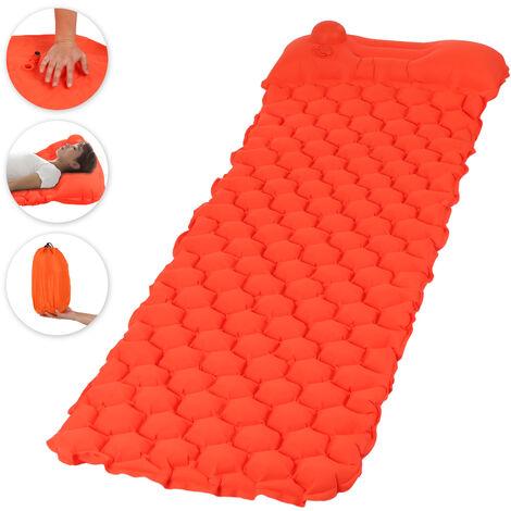Tapis De Couchage De Camping Gonflable Avec Pompe A Pression, Avec Oreiller, Orange