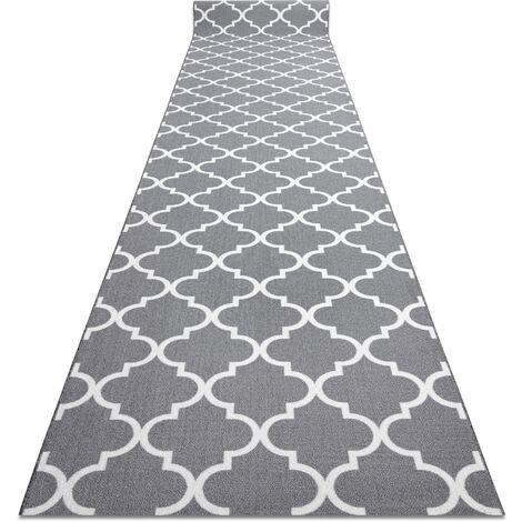 TAPIS DE COULOIR ANTIDÉRAPANT TRÈFLE MAROCAIN 90 cm gris TRELLIS 30352 nuances de gris et argent 90x150 cm