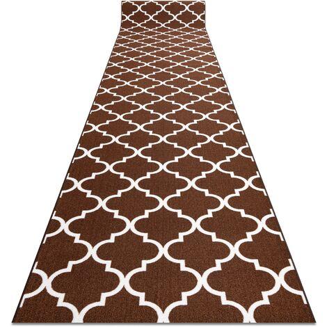 TAPIS DE COULOIR ANTIDÉRAPANT TRÈFLE MAROCAIN marron 57 cm TRELLIS 30351 nuances de marron 57x100 cm