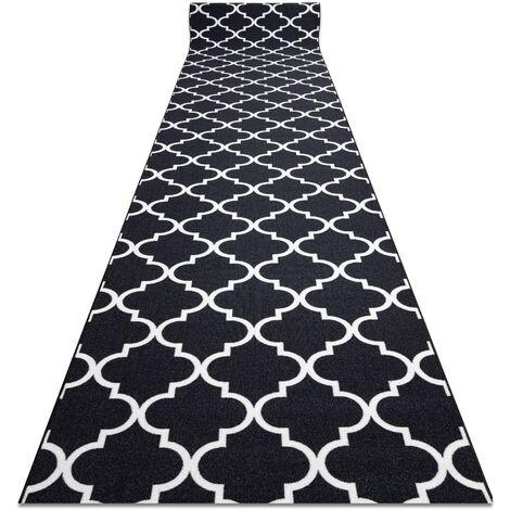 TAPIS DE COULOIR ANTIDÉRAPANT TRÈFLE MAROCAIN noir 67 cm TRELLIS 30350 noir 67x100 cm