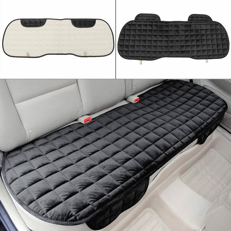 Tapis de coussin de siège de voiture pour coussin de chaise automatique en peluche d'hiver antidérapant (noir, arrière)