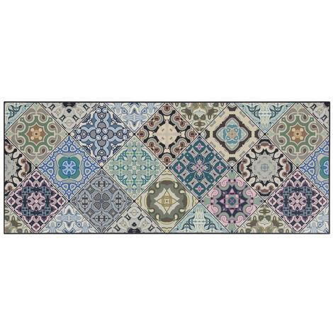 Tapis de cuisine carreaux de ciment multicolore design Melrose Multicolore 50x120 - Multicolore