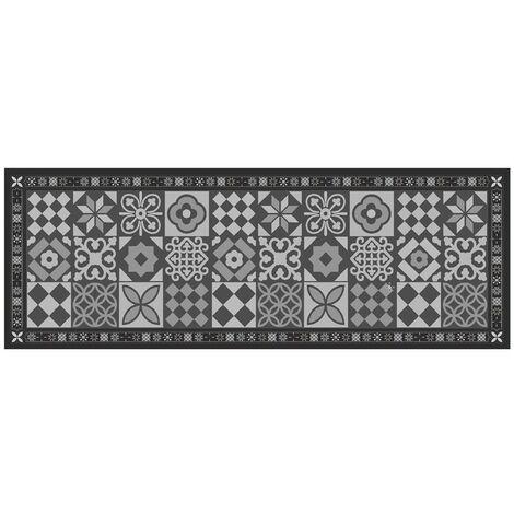 Tapis de cuisine carrelage ancien gris 45x125cm - CaliCosy