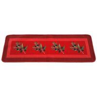 Tapis de cuisine rouge antidérapant motif olives 50 x 120 cm