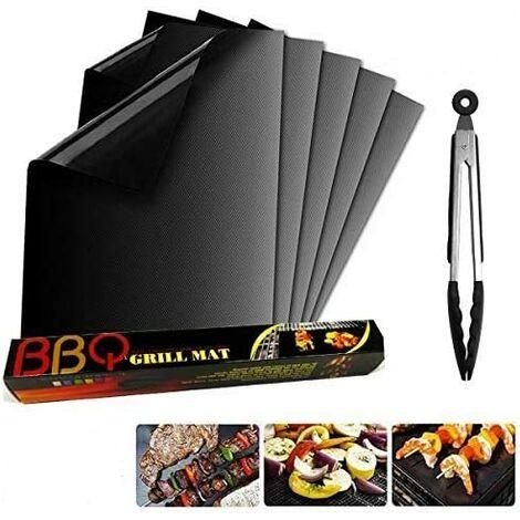 Tapis de Cuisson barbecue et clip, Set de 5 apis Barbecue 40x33 CM BBQ Mat Antiadhésif, réutilisable, pour Les Barbecue à Gaz, Charbons ou Électriques