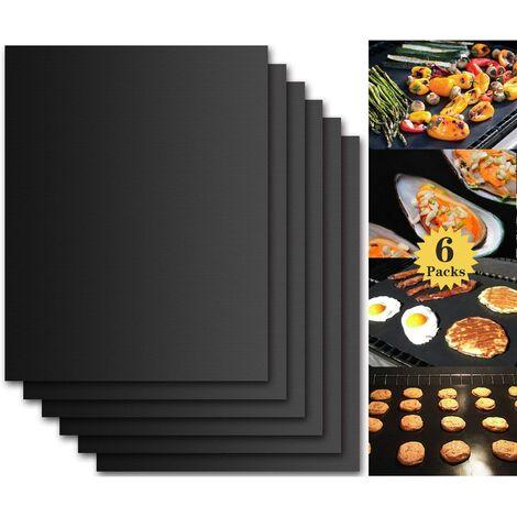 """main image of """"Tapis de Cuisson Barbecue, Set de 6 Feuille de Cuisson pour Barbecue et Four - 40*33 cm Anti-adhérent de BBQ et Feuilles de Cuisson réutilisable pour les barbecue à gaz, Charbon ou électriques"""""""
