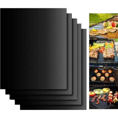 Tapis de Cuisson, Set de 5 Tapis Barbecue 40x33cm Antiadhésif et Réutilisable Barbecue Tapis pour Barbecue gaz Charbon électrique (+1Pince à Barbecue)