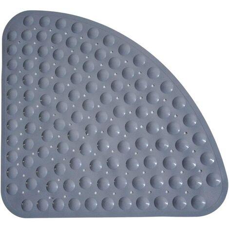 Tapis de douche Tapis de bain antidérapant antidérapant antibactérien Anti-moisissure en quart de cercle Tapis de bain en coin Tapis de bain avec ventouses pour douche de bain (54 cm x 54 cm, gris)