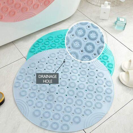 Tapis de douche Tapis de douche rond Tapis de salle de bain en PVC Insert de receveur de douche antidérapant avec ventouses Tapis de douche pour salle de bain Lavable en machine 55 x 55 cm