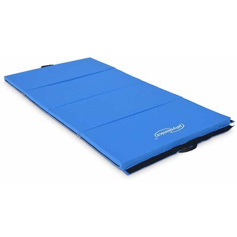 Tapis de fitness et yoga pliable 180 x 80 x 5 cm sol gym pilates sport musculation bleu