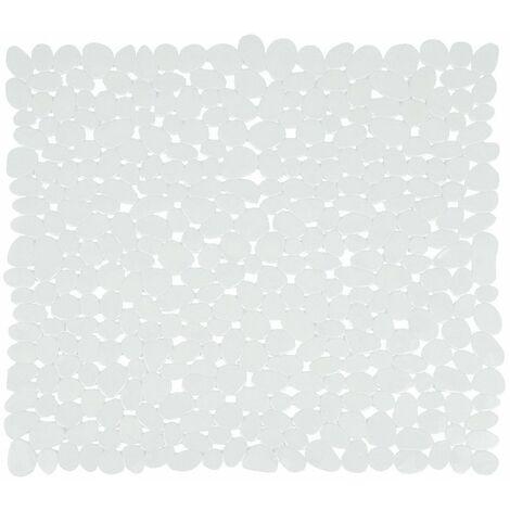 Tapis de fond de baignoire pvc galet 35x68cm blanc