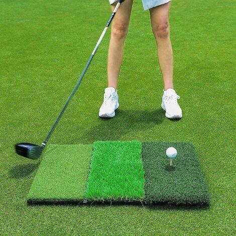 Tapis de frappeur de golf, tapis de golf portable pour l'entraînement à la conduite et à la coupe, avec tee réglable et balle d'entraînement en mousse, très approprié pour l'entraînement en intérieur ou en extérieur