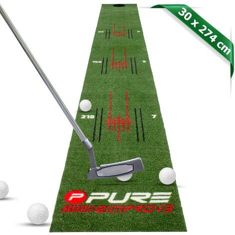 Tapis de golf d'entraînement pour extérieur/intérieur gazon artificiel 274x30 cm