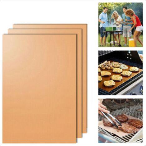 Tapis de gril antiadhésif noir, robuste, réutilisable et facile à nettoyer, tapis de gril pour barbecue pour fours et micro-ondes (5 pièces)