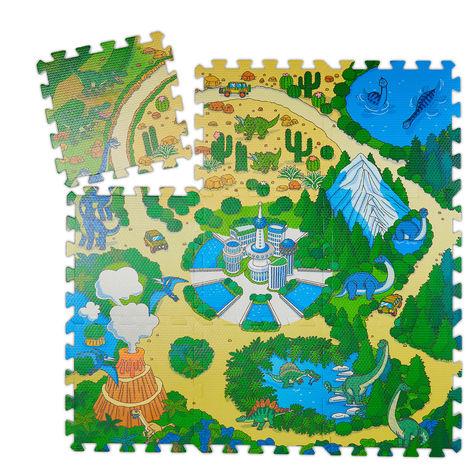 Tapis de jeu, 9 pièces de puzzle pour enfants, sans polluants, mousse EVA, 90 x 90 cm, multicolore