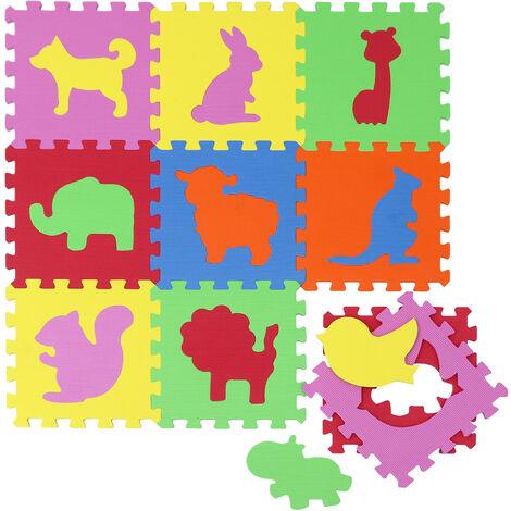 Tapis de Jeu Doux pour Bébé Dalles Puzzle en Mousse Enfants Animaux