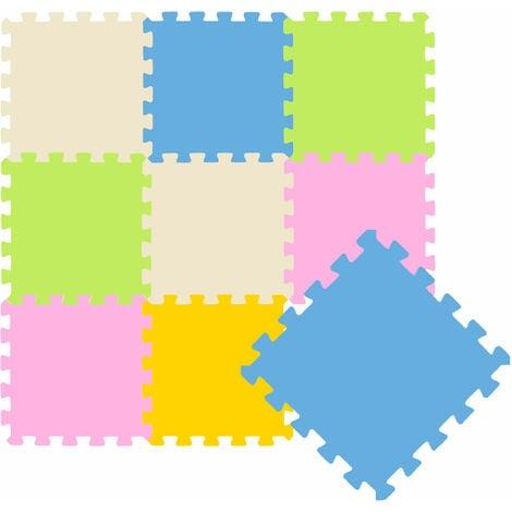 Tapis de Jeu Doux pour Bébé depuis Zéro Dalles Puzzle en Mousse Pastel Coloré