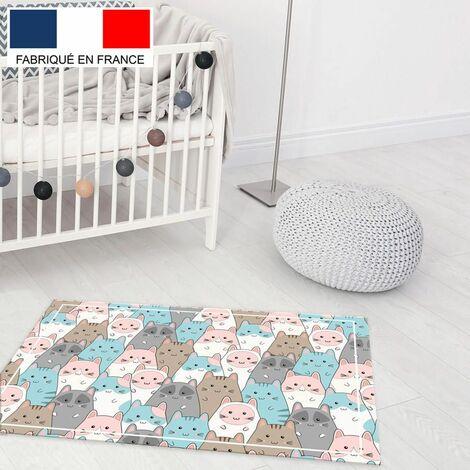 Tapis de jeu en vinyle Tarkett 49,5x83 pour chambre d'enfant - haute qualité non toxique - motif chats pastel