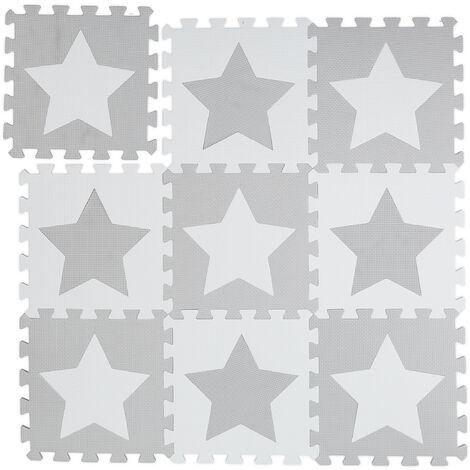 Tapis de jeu, étoiles, 9 pièces de puzzle, enfants & bébés, mousse EVA, sans polluants, 91 x 91 cm, blanc-gris