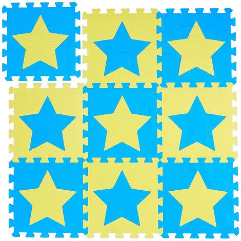 Tapis de jeu, étoiles, 9 pièces de puzzle, enfants & bébés, mousse EVA, sans polluants, 91 x 91 cm, bleu-jaune