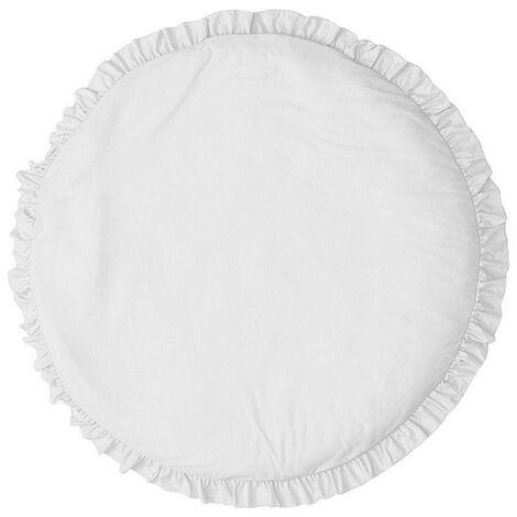 Tapis de jeu pour bébé à une seule couleur Tapis de rampement doux Couverture de rampe pour nouveau-né Tapis de sol pour chambre de bébé (blanc)