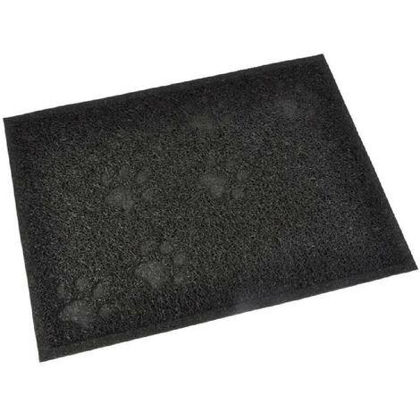 Tapis de litiere PVC rectangle - 30x40 cm - Noir - Pour chat Generique