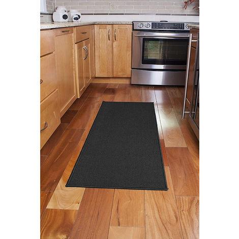 Tapis de passage pour porte décorative avec support en latex antidérapant, 20 po x 60 po Tapis de passage de cuisine et salle de bain, noir
