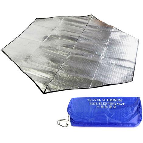 Tapis de pique-nique en film d'aluminium double face surdimensionnetapis de camping tapis de camping pliable en plein air tapis anti-humiditefamille napperon argent 300 * 300