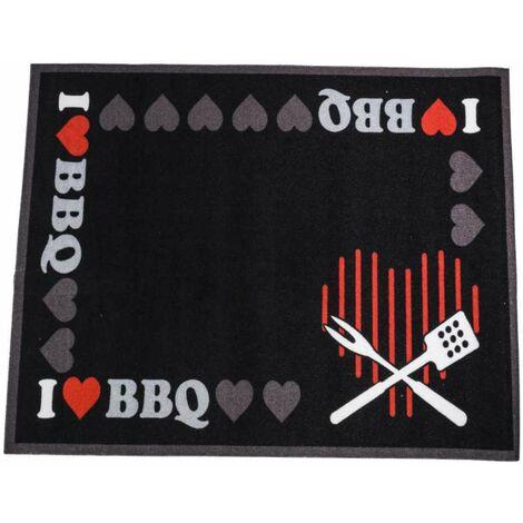 Tapis de protection noir pour barbecue 80x100cm