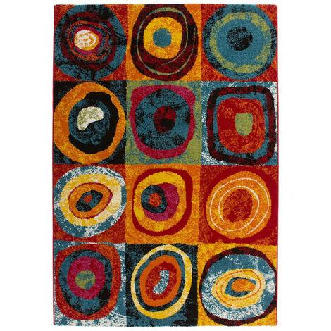 Tapis de salle à manger à courtes mèches multicolore Jordan Multicolore 160x230 - Multicolore