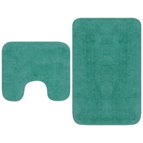 Tapis de salle de bain 2 pcs Tissu Turquoise