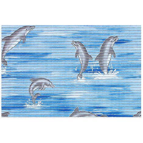Tapis de salle de bain antidérapant mousse PVC 50 x 80 cm couleur vert /  Couleur: Bleu / Référence: 1617