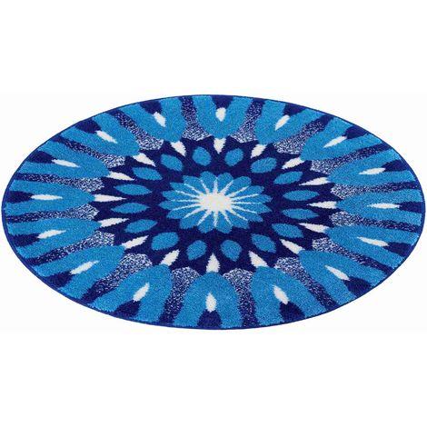 Tapis de salle de bain COMPREHENSION bleu rond 80 cm / Couleur: Bleu /  Référence: m3029-43246