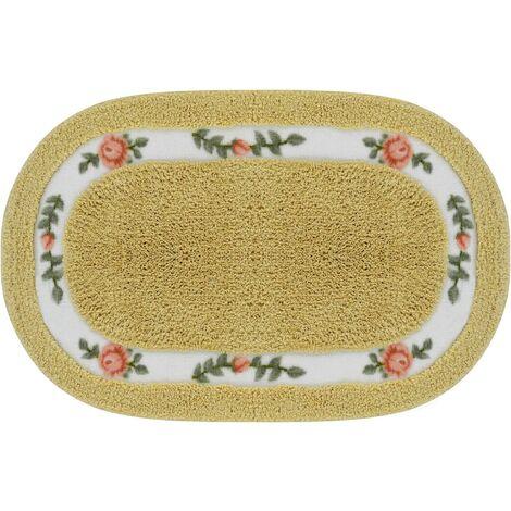 """Tapis de salle de bain Floral Tapis antidérapant, lavage à la machine, Microfibre absorbant Way Tapis de porte, tapis de bain rose de forme ovale pour une utilisation en plein air intérieure 20 """"x32"""" (50x80cm) - or"""