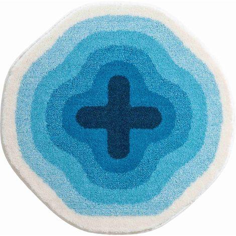 Tapis de salle de bain KARIM 03 rond diametre 60 cm bleu / Couleur: Bleu /  Référence: b3643-120143