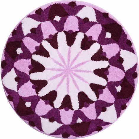 Tapis de salle de bain KNOWLEDGE violet rond 100 cm / Couleur ...