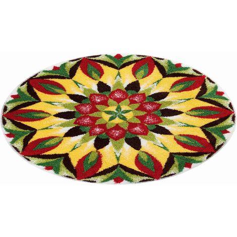 Tapis de salle de bain MANDALA OF LIFE jaune rond 80 cm / Couleur: Vert  jaune / Référence: m3001-43227