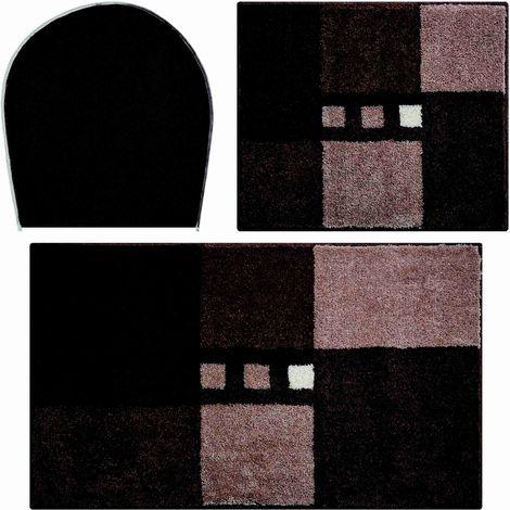 Tapis de salle de bain MERKUR marron Set - 3 pcs (housse pour abattant +  tapis 40x50cm + tapis 50x80cm) / Couleur: Marron / Référence: ...